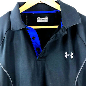 Under Armour Mens Cold Gear Regular Fit UA Long Sleeve Polo Shirt Large Black $24.25