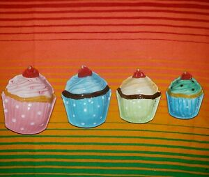 NEW Porcelain Measuring Cups Nesting Set 4 Stacking Baking Cupcake Hand Painted