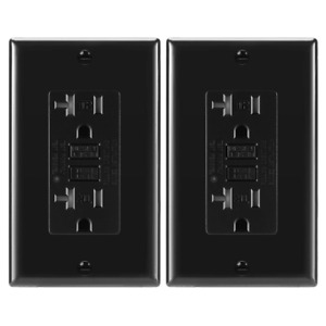 2 Pack, 20A Black GFCI Outlets, Slim TR Receptacle, with LED & Wall Plate, New
