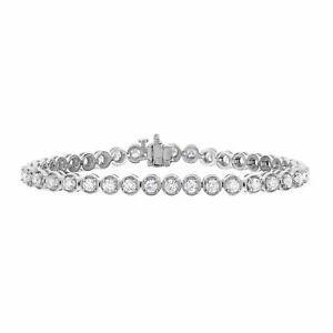 3 cttw Certified SI2 I1 Classic Tennis Diamond Bracelet 18K White Gold