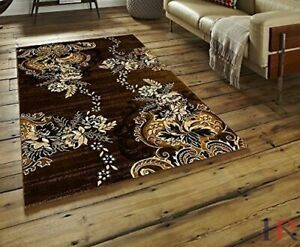 Abstract Area Rug Modern Contemporary Rug Carpet Chocolate Brown Mocha Black $169.90