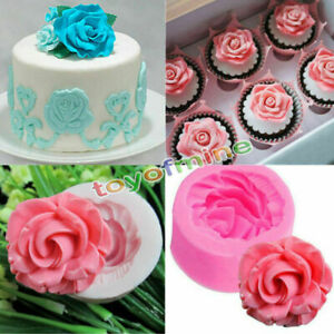 DIY Tool 3D Rose Flower Fondant Party Cake Chocolate  Silicone Mold