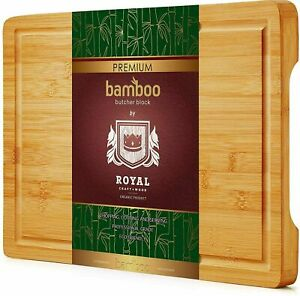 Bamboo Cutting Board for Kitchen, Butcher Block w/ Handles & Juice Groove, 15x11