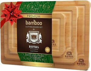 Bamboo Cutting Board Set - Best Wood Butcher Blocks for Kitchen w/ Handles, 3Pcs