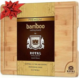 Small Bamboo Wood Cutting Board for Kitchen with Handles & Juice Groove, 12x8 in
