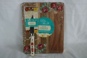 The Pioneer Woman Vintage Floral Wooden Cutting Board & Paring Knife Set