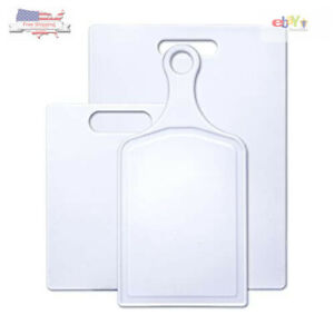 New Farberware Plastic Cutting Board, Set of 3 Various Sizes with Paddle Board