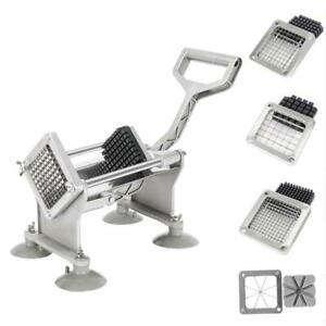 Stainless Steel French Fry Cutter Potato Vegetable Apple Slicer Dicer 4 Blades