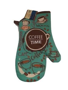 New Home Collection Kitchen Oven Mitt Coffee Time Heat Resistant Cooking Mitten