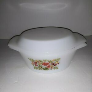 Arcopal France Milk Glass Partridge French Hen Casserole Dish with Lid