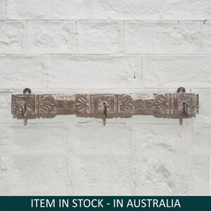 Hand carved wooden black colour wall hook wall hanger metal rustic vintage Small