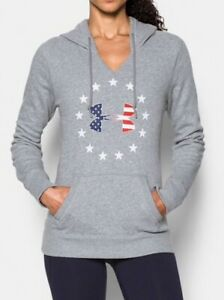 NWT Women's UNDER ARMOUR Freedom Hoodie FLAG Circle of Stars GREY Gray S M L XL $37.99