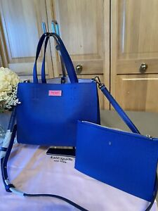 KATE SPADE NEW YORK Small Mini Satchel Tote Crossbody Handbag Caribbean Blue NEW