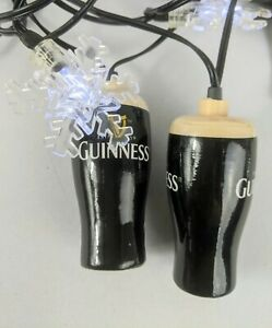 Two Sets Of Guinness Novelty Holiday Snowflake String of Lights