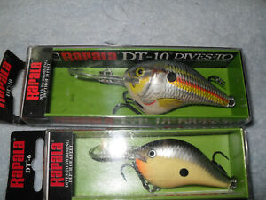Lot Of 2 Rapala Crankbait Lures 1-DT -10 And 1-DT-6 Both NIB