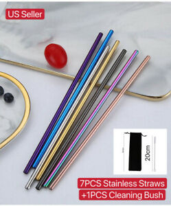 10.5 Inch Reusable Stainless Straws Steel Metal drinking Straws - Long for 30oz