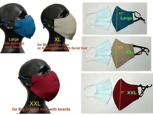 X Large , L , M 3D Face Mask 3Layer Cotton Fabric with nose wire Filter Pocket