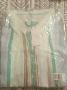 NEW Womens 2XL 20 Linen TIME AND TRU Striped Button Front Blouse Shirt Opt Tie