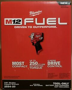 """Brand New Milwaukee 2554-20 M12 Fuel 3/8"""" Stubby Impact Wrench (Tool-Only)"""