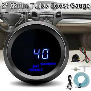 1PC For 2 52mm Car Universal Digital Blue LED Light Turbo Boost Gauge Meter Kit