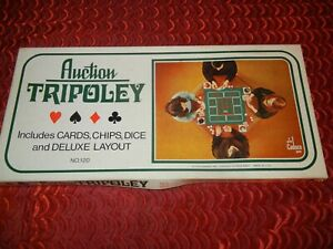 VINTAGE AUCTION TRIPOLEY CARD GAME BOARD GAME CARDS CHIPS DICE