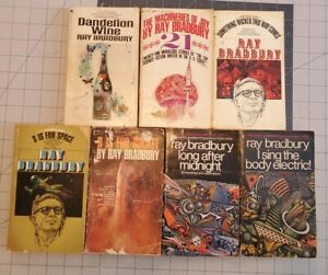 Lot of 7 Vintage Science Fiction Paperback Books by Ray Bradbury