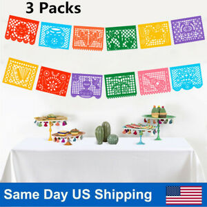 Fiesta Party Banner Large Plastic Mexican Papel Picado Banner Decor 24ft 3 Pack