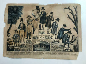 """CURRIER amp; IVES Rare Print 1850 """"The Life of Manquot; $200.00"""