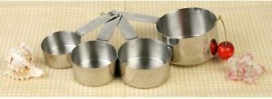 Set of 4 SLMC2414 Stackable Stainless Steel Measuring Cups Metal 1/4 1/3 1/2 1 c