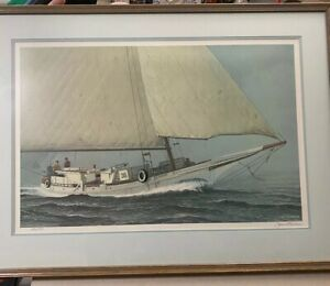 "John M Barber Lithograph Art Print Signed amp; Numbered Framed 20x29"" Nautical Boat $275.00"