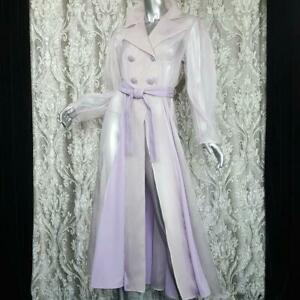 NWT~$1200~DROME~SZ S~GENUINE LEATHER LILAC SHEER ORGANZA BELTED COAT JACKET
