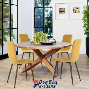 4x Dining Chairs Kitchen Room Yellow Upholstered Mid Century Modern+Metal Legs
