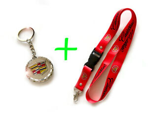 Combo CADILLAC Key Chain Keychain with Box and Red Lanyard $15.99