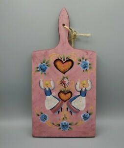 Vintage Cutting serving Board Folk Art Signed Tole painted Pennsylvania Dutch