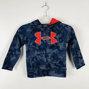 Under Armour Boys Size 5 Utility Camo Hoodie Blue Red Big Logo Full Zip $21.24