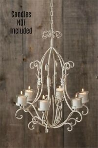 New Shabby Farmhouse Chic White HANGING CHANDELIER Ceiling Votive Candle Holder