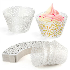 200PCS Lace Cupcake Wrappers Liners Muffin Tulip Case Bake Cake Paper Baking Cup