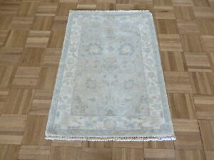 2'2 x 3 Hand Knotted White Wash Beige Oushak Oriental Rug G8081