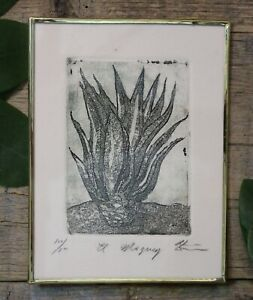 Maguey Agave Plant Tequila Lover Mezcal Framed Etching by Abelar Mexico Folk Art $39.00