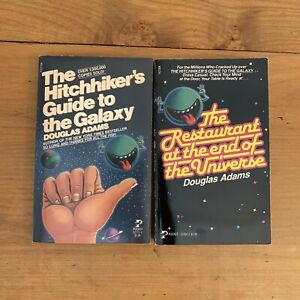 Vtg Hitchhikers Guide To Galaxy amp; Restaurant At The End Of The Galaxy 1979 80 Pb