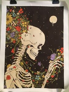 "NEW 18""x14"" Flowers Busting Out Of Skull In Space Black Canvas Print Wall Art"