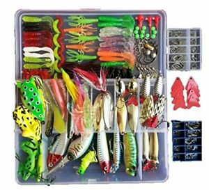 275Pcs Fishing Lure Set Kit Soft and Hard Baits Tackle Bionic Bass