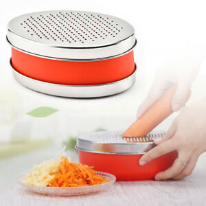 Cheese Grater Slicer Oval Box Vegetables Stainless Steel Fruits with Container