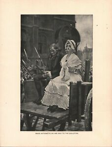 Vintage Art Print Lithograph Marie Antoinette To Guillotine 1892 2 Pcs $14.50