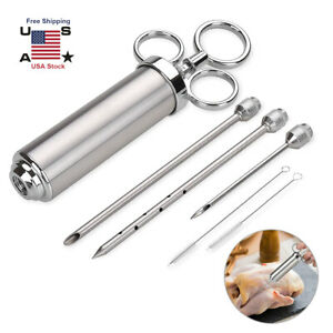 Stainless Steel Meat Injector Marinade Flavor Syringe Needle BBQ Cooking Set USA