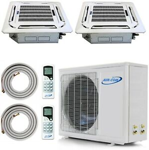 Ductless Mini Split Air Conditioner Heat Pump 21 SEER Dual Zone 18000 18000 AC
