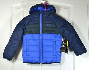 NWT BOYS YOUTH UNDER ARMOUR COLORBLOCK FULL ZIP JACKET HOODIE COAT SZ 2T 4T $32.40