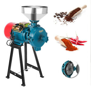220V Electric Grinder Machine Corn Grain Wheat Cereal Feed Wet Dry Mill Funnel
