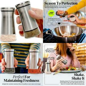 Premium Salt And Pepper Shakers With Adjustable Pour Holes - Elegant Stainless S