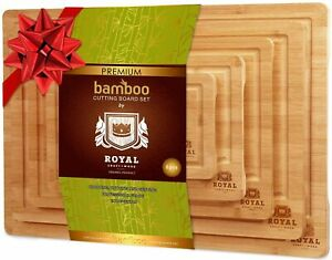 Bamboo Cutting Board Set for Kitchen, Chopping Boards w Juice Groove and Handles